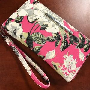 Betsey Johnson Pink & White Floral Wallet Clutch